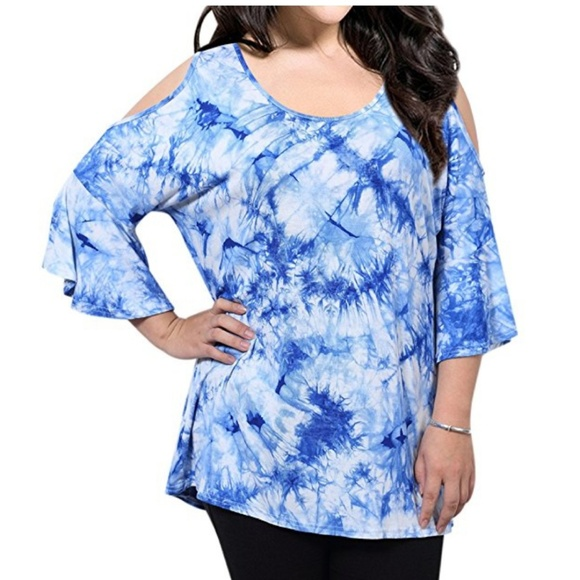 1187a1ad13ada8 Women Plus Size Tie Dye Cold Shoulder Bell Sleeve